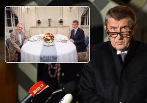 Premiér Andrej Babiš na večeři s prezidentem Milošem Zemanem a po ní před novináři (19. 11. 2018)