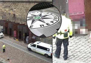 Na Rašínově nábřeží našli mrtvolu na záchodě. Tělo muže míří na pitevnu