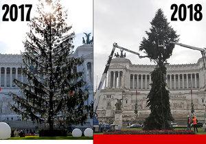 Minulý rok měli v Římě opelichaný strom a letos mají polámaný.