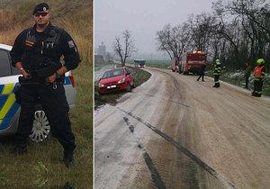 Policista Mirek jel slavit narozeniny táty: Cestou zachránil posádku z převráceného osobáku