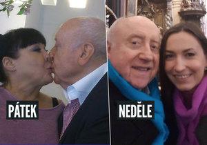 Dáda Patrasová v pátek zveřejnila fotku se Slováčkem s pusou, v neděli Felix zveřejnil fotku s Gelemovou.