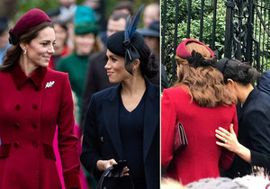 Meghan a Kate vypadaly na vánoční mši jako největší přítelkyně