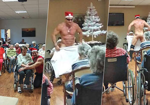 Striptér Rocky udělal důchodkyním v domově v Orlové svým vystoupením druhé Vánoce