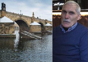 Pan Manelovski měřil energii Karlova mostu.