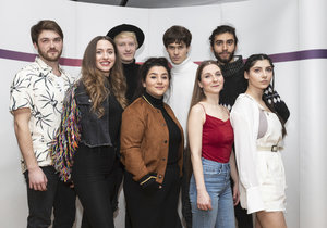 Kandidáti Eurovize 2019: (Zleva:) Tomáš Boček, Hana Barbara, Jakub Ondra, Andrea Holá, Lake Malawi (Albert Černý), Barbora Mochowa, Jára Vymer, Pam Rabbit