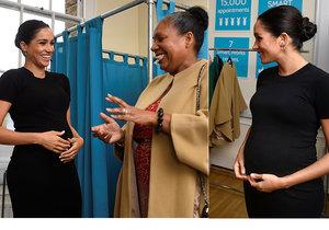 Těhotná Meghan Markle se pochlubila rostoucím bříškem v charitativní organizaci.