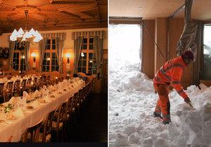 Lavina zasáhla hotel ve Švýcarsku.