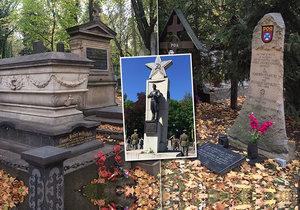 Na Olšanských hřbitovech odpočívají padlí letci, námořníci a vojáci.