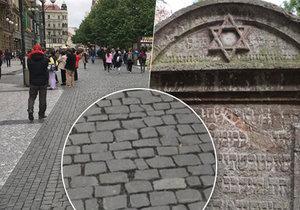 Dlažební kostky v centru Prahy jsou z náhrobků židovského hřbitova.