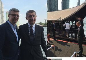 Andrej Babiš poprvé v Bangkoku: Svezl se na lodi a zamířil do luxusního obchoďáku