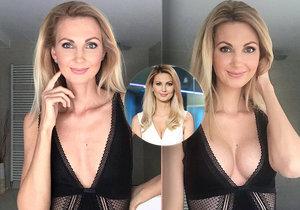 Moderátorka Sandra Parmová před a po plastické operaci zvětšení prsou