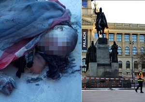 50 let od smrti Jana Palacha (†20) se na Václavském náměstí zapálil starší muž. Uhasili ho svědci.