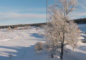 Kvilda na Šumavě zažila mrazivou noc, bylo až -30 °C (19. 1. 2019)