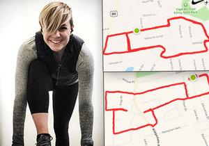Claire běhá tak, aby kreslila pomocí aplikace na mapách penisy.