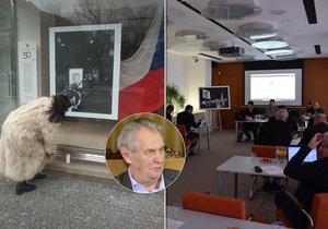 Radní Prahy 6 rokovali v galerii Skleňák na protest proti Zemanovu vyjádření.