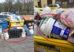 Podnikatelé přeplňují nádoby na tříděný odpad, které mají sloužit obyvatelům.