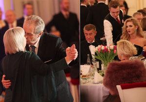 Zeman na plesu: Monika Babišová ho odmítla, tančil s Ivanou. A hostům zazpíval.