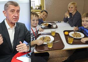"""Obědy zdarma pro školáky zřejmě nebudou. """"Školy zkrátka řekly ne,"""" tvrdí Babiš"""