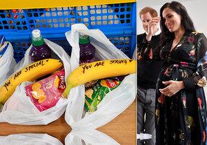 Těhotná Meghan poslala prostitutkám z ulice vzkazy na banánech.