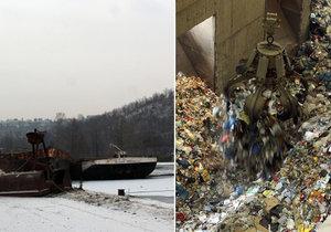 Po Praze by měly začít odpad svážet nákladní lodě (ilustrační foto).
