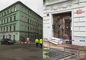 Z domu v Petrské ulici se v sobotu zřítila fasáda a římsa. Část ulice Stárkova je dočasně uzavřená.