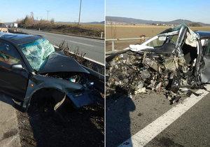 Dvě auta se čelně srazila na dálnici D5 u Rokycan: Jedno jelo 1,5 km v protisměru