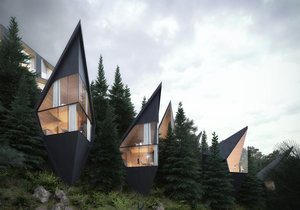 Špičatý design domů prý má připomínat okolní jedle a smrky