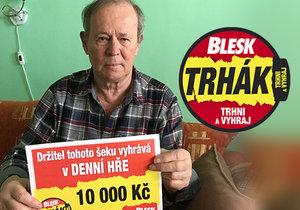 Trhák je zábava, všem ji doporučuji, vzkazuje Karel Vagner. V pondělí vyhrál 10 tisíc, včera odtrhl týdenní balíček BLESKmobilu.