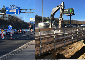 """Dopravní komplikace u Barrandovského mostu: Kvůli rekonstrukci se jezdí jedním pruhem, auta se """"štosují"""""""