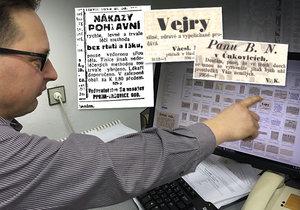 Pedagog David Slavata (46) má unikátní sbírku historických inzerátů.