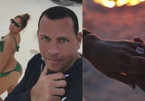 Řekla ANO! Jennifer Lopezovou požádal prstenem s obřím diamantem o ruku její přítel Alex Rodriguez