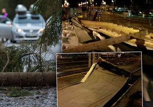 Vítr zkomplikoval dopravu po celém Česku, na nádraží v Olomouci spadla střecha do kolejiště