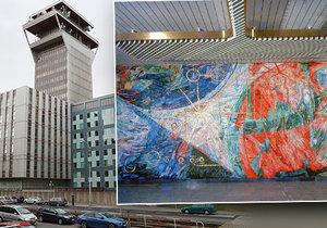 Ústřední telekomunikační budova - nyní známá pod názvem Budova CETIN, skrývá ve svých útrobách unikátní mozaiku. Tu se snaží umělci a odborníci zachránit před plánovanou demolicí objektu.