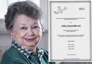 Podle parte Aťky Janouškové se už ví, kdy skonala...