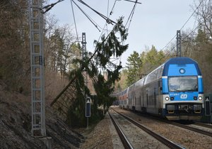 19. březen 2019: Na železnici v úseku Čerčany - Senohraby spadl na trakční vedení strom. Vlaková doprava byla kvůli němu v daném místě pozastavena.