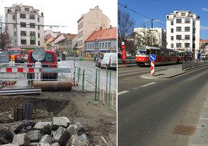 Zenklova ulice v Libni během rekonstrukce a půl roku po ní.