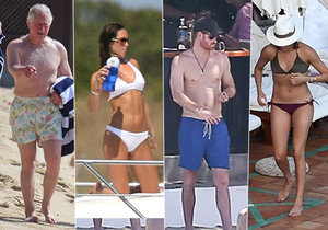 Členové britské královské rodiny v plavkách.