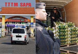 Razie policistů, celníků, veterinární správy a Státní zemědělské a potravinářské inspekce v tržnici Sapa, 22. března 2019.