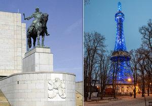 """Tři pražské dominanty v noci zhasnou. Petřín a Vítkov pak budou i jako """"vrchy v modrém"""""""