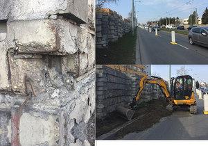 Zničenou protihlukovou zeď v Bělohorské čeká velká oprava.