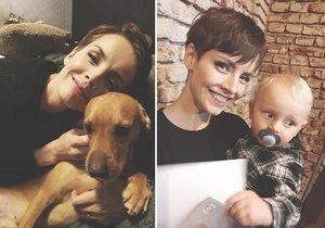 Gabriela Lašková se svými dětmi, tím lidským i tím psím.