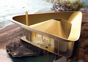Moderní rekreační dům s bazénem, který slouží jako střecha