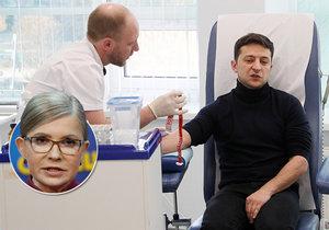Volodymyr Zelenskyj coby prezidentský kandidát na Ukrajině podstoupil odebrání krevního vzorku. Testovala se přítomnost drog