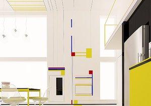 Moderní apartmán připomíná plátna slavného abstraktního malíře Mondriana