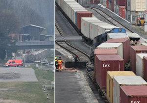 V Mělníku v přístavu se na vlečce srazily vlaky: Strojvedoucí je zraněný