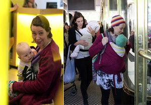 Maminek, které přišly upozornit na problematiku kojení na veřejnosti přišlo zhruba pět.