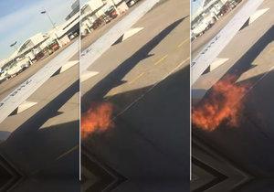 Boeing v Moskvě zachvátily plameny. Lidé křičeli hrůzou a prchali na křídlo