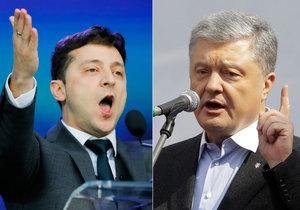 Dva kandidáti na prezidenta Petro Porošenko a Volodymyr Zelensky se během debaty na stadiónů ostře obviňovali