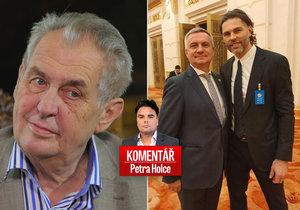 Prezident Miloš Zeman (vlevo) a hokejista Jaromír Jágr (vpravo) v komentáři Petra Holce