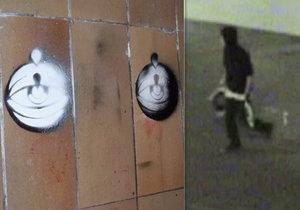 Mladík (23) sprejoval po Vltavské oči. Neunikl ale zraku svědka, chytili ho strážníci